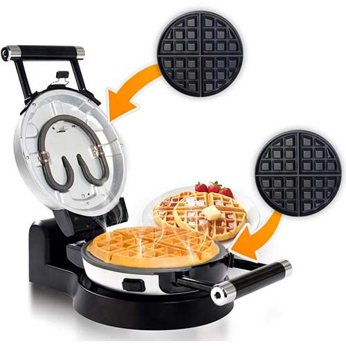 2. Secura Upgrade Automatic 360 Rotating Non-Stick Double Belgian Waffle Maker