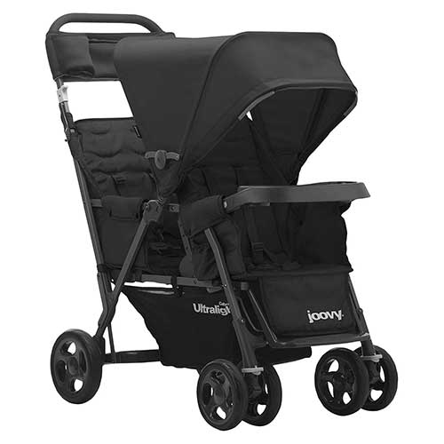 6. JOOVY Caboose Too Ultralight Graphite Stand-On Tandem Stroller, Black