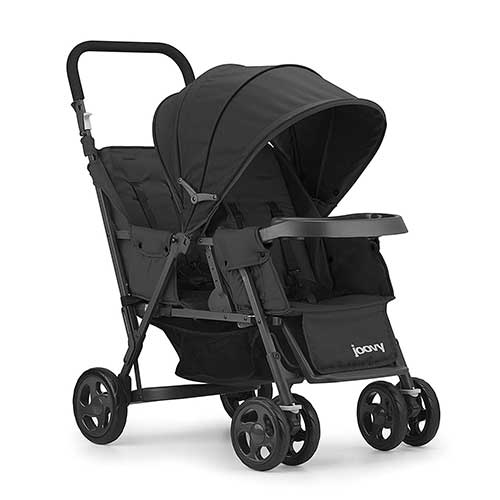 4. JOOVY Caboose Too Graphite Stand-On Tandem Stroller, Black