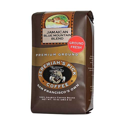 Best Jamaican Blue Mountain Coffee Beans 2. Jamaican Blue Mountain Blend - Ground Coffee for Drip - 10oz, Caffeinated by Jeremiah's Pick Coffee Co.