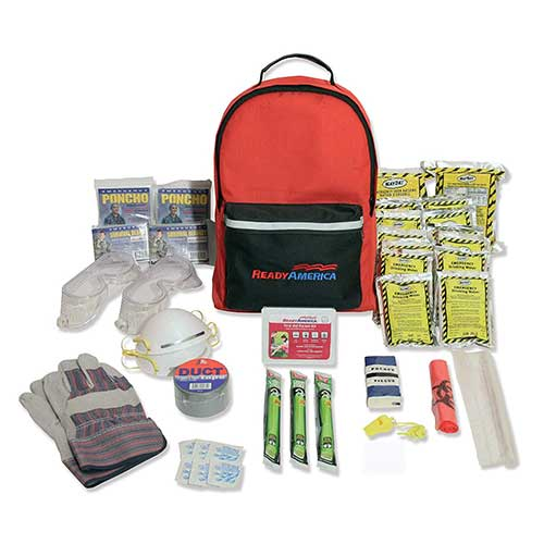 10. Ready America 70286 Hurricane Emergency Kit, 2 Person 3Day Backpack
