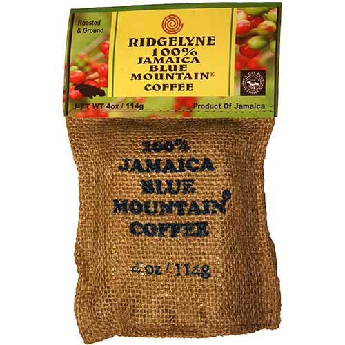 Best Jamaican Blue Mountain Coffee Beans 5. 100% Jamaica Blue Mountain Coffee - Roasted & Ground (4 Oz.) by Ridgelyne