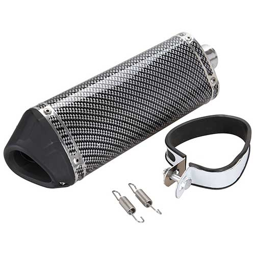 9. Iglobalbuy 38mm Motorcycle Scooter Exhaust Muffler Pipe W/Movable Silencer Carbon Fiber