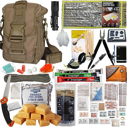 6. Prepper's Favorite Get Home Bag with First Aid Kit, Water Filter, Food, Fire, Tools and Shelter. Tactical Shoulder Bag Model