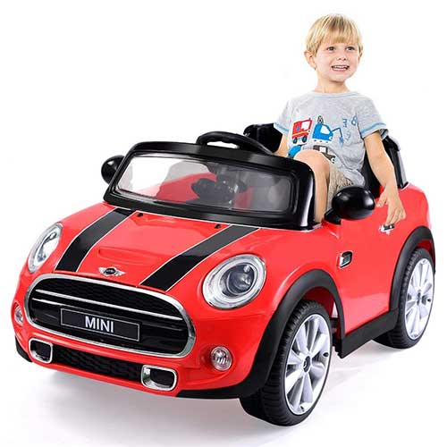 4. Costzon Ride On Car, Licensed BMW Mini Cooper Electric Car, 12V Battery (Red)