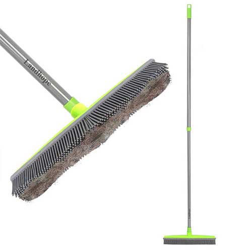 Best Brooms for Dog Hair 1. LandHope Push Broom Long Handle Rubber Bristles Sweeper Squeegee Edge 54 inches Non Scratch Bristle Broom for Pet Cat Dog Hair