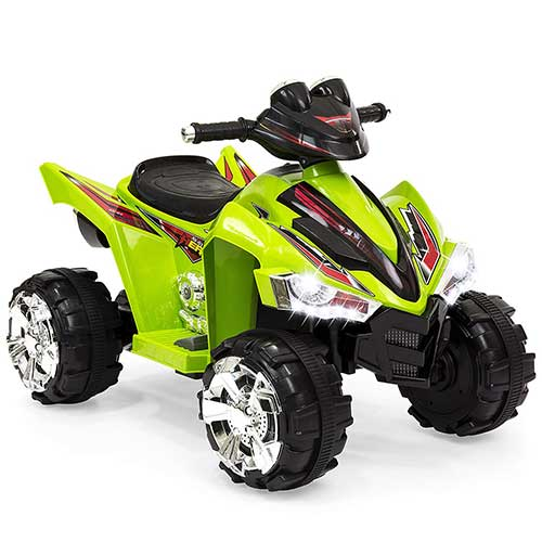 8. Best Choice Products Kids 12V Battery Powered Ride On Toy Car 4-Wheeler Quad ATV, Forward and Reverse Gears, - Green