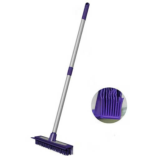 Best Brooms for Dog Hair 3. Rubber Push Broom-Extra Extendable Telescopic Long Handle Bristles Squeegee Broom Bristle Sweeper
