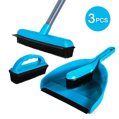 Best Brooms for Dog Hair 5. Rubber Brush Broom Dustpan Set 3 PCS Cleaning Sets Soft Bristle Brush For Multi-Surface Pet Hair Removal Masthome