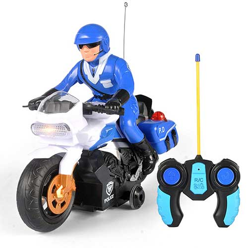 9. Liberty Imports RC Police Patrol Motorcycle Remote Control Motor Bike for Kids