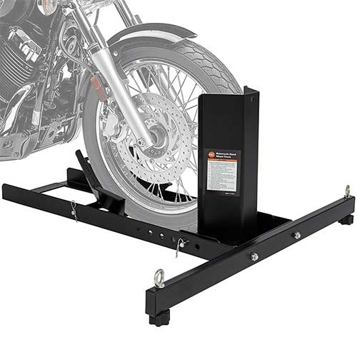 6. Best Choice Products Adjustable Motorcycle Stand Wheel Chock Upright w/ 1800lb Capacity – Black
