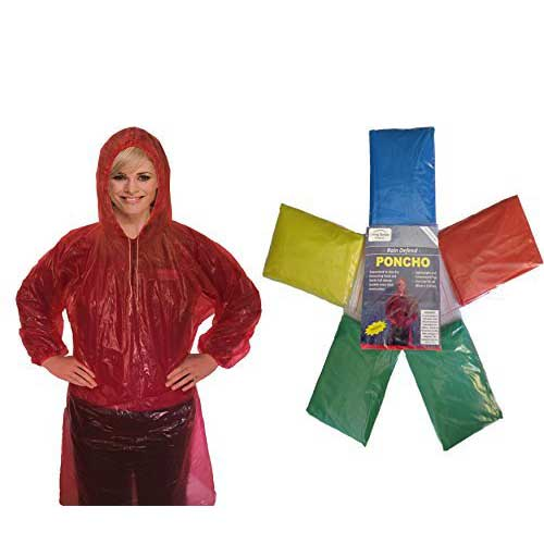 Best Rain Ponchos for Travel 9. Rain Poncho for Adults (6 Pack) | Drawstring Hood and Elastic Sleeve Ends | 50% Thicker Quality Material