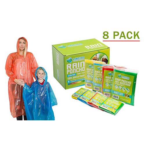 Best Rain Ponchos for Travel 10. Lingito Rain Ponchos Family Pack | Emergency Raincoat Drawstring Hood Poncho for Children and Adults