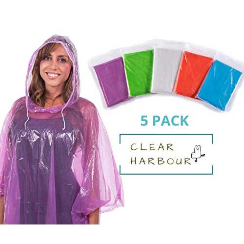 4. Clear Harbour Emergency Disposable Rain Poncho Pack for Adults | Women and Men's Rain Ponchos in Bulk