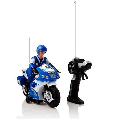 10. Dimple DCN4964 Remote Controlled White & Blue Police Motorcycle with Driver Toy, Lights & Sound Effects, Multicolor