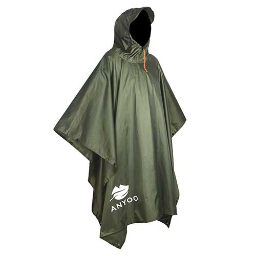 Best Rain Ponchos for Travel 1. Anyoo Waterproof Military Rain Poncho Lightweight Reusable Hiking Rain Coat Jacket with Hood for Boys Men Women Adults