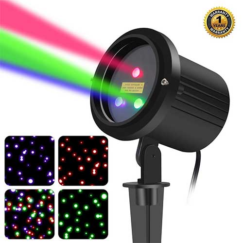 Best Garden Laser Lights 5. SUNYAO 3 Color Motion Laser Christmas Lights Projector with RF Remote, Outdoor Garden Laser Lights Moving RGB Stars Show