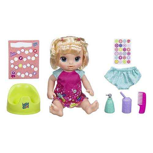 7. Baby Alive Potty Dance Baby: Talking Baby Doll with Blonde Hair, Potty, Rewards Chart, Undies and More