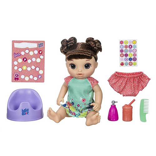 2. Baby Alive Potty Dance Baby: Talking Baby Doll with Brown Hair, Potty, Rewards Chart, Undies & More