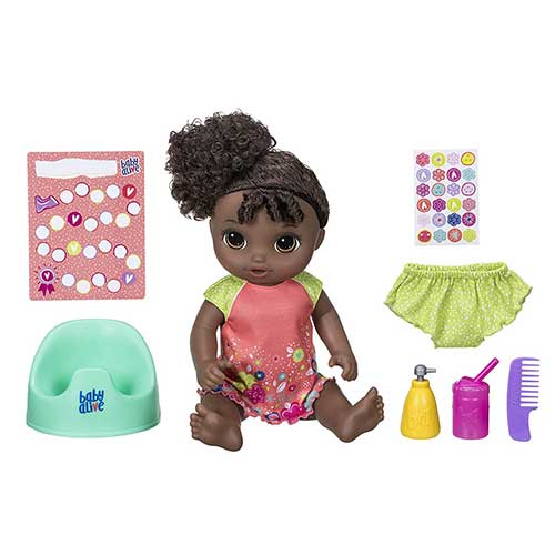 10. Baby Alive Potty Dance Baby: Talking Baby Doll with Black Curly Hair, Potty, Rewards Chart, Undies and More