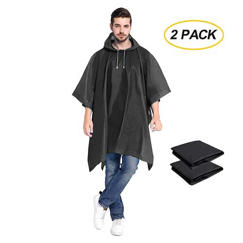 Best Rain Ponchos for Travel 7. Rain Ponchos 2 Packs for Adults with Drawstring Hood - Emergency Rain Coat for Traveling