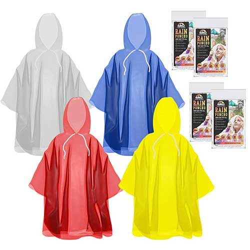 Best Rain Ponchos for Travel 3. The Clean Explorer Disposable Rain Ponchos with Hood and Drawstring: Extra Thick (Adult and Child Sizes)