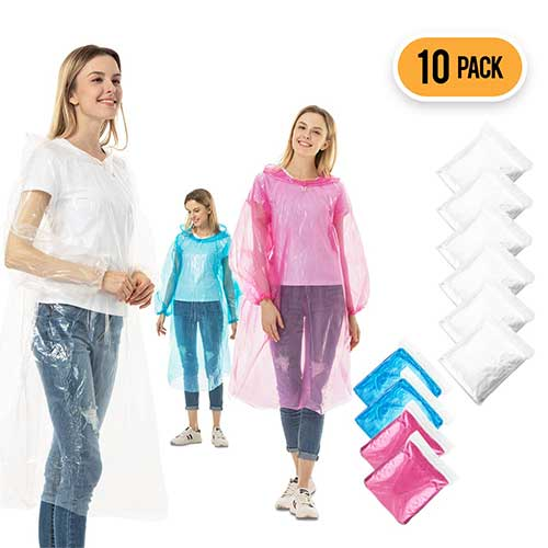 Best Rain Ponchos for Travel 2. Rain Ponchos for Adults Disposable - 10 Pack Bulk Extra Thick Emergency Waterproof Rain Poncho