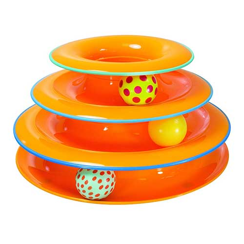 1. Petstages Tower of Tracks Cat Toy – 3 Levels of Interactive Play – Circle Track with Moving Balls