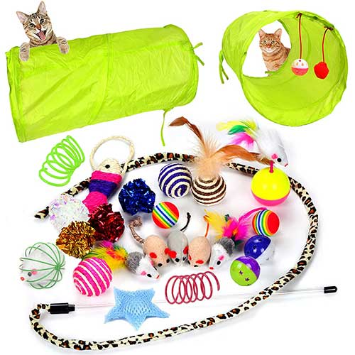 2. Youngever 24 Cat Toys Kitten Toys Assortments, 2 Way Tunnel, Cat Feather Teaser - for Cat, Puppy, Kitty, Kitten