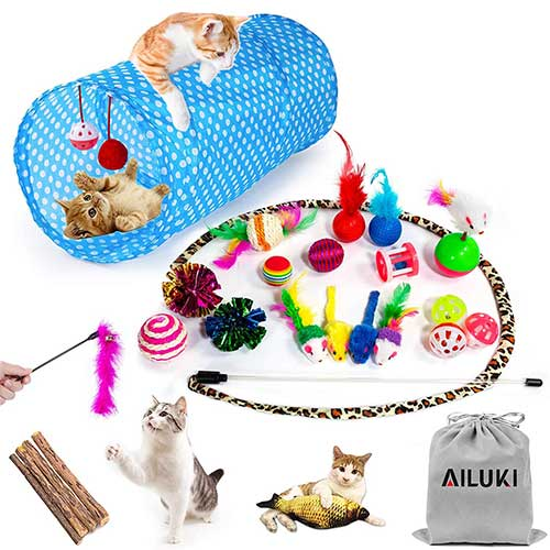 5. AILUKI 26PCS Cat Toys Kitten Toys Assortments, Variety Catnip Toy Set