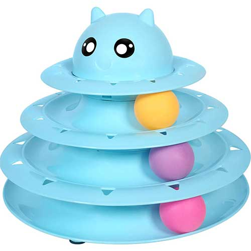 4. UPSKY Cat Toy Roller Cat Toys 3 Level Towers Tracks Roller with Three Colorful Ball Interactive Kitten Fun Toys