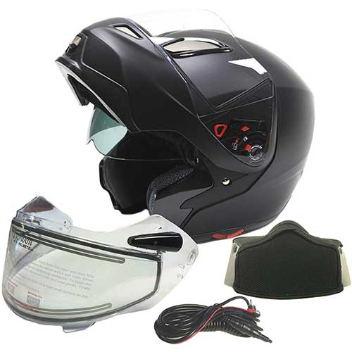 Best Snowmobile Helmets 6. Typhoon Dual Visor Modular Full Face Snowmobile Helmet With Heated Shield, Breath Box (Matte Black, Large)