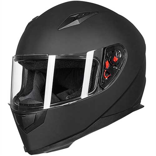 Best Snowmobile Helmets 2. ILM Full Face Motorcycle Street Bike Helmet with Removable Winter Neck Scarf + 2 Visors DOT (M, Matte Black)