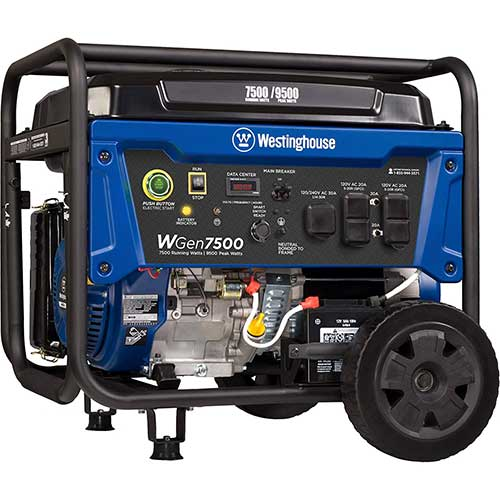 Best Dual Fuel Generators 9. Westinghouse WGen7500 Portable Generator with Remote Electric Start - 7500 Rated Watts & 9500 Peak Watts - Gas Powered - CARB Compliant - Transfer Switch Ready