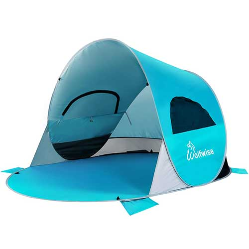 4. WolfWise UPF 50+ Easy Pop Up 3-4 Person Beach Tent Sport Umbrella Instant Sun Shelter Tent Sun Shade Baby Canopy