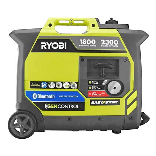 Best Dual Fuel Generators 4. Ryobi Bluetooth 2,300-Watt Super Quiet Gasoline Powered Digital Inverter Generator RYI2300BTA