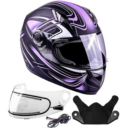 Best Snowmobile Helmets 7. Typhoon Helmets Adult Full Face Snowmobile Winter Helmet With Heated Face Shield DOT (Purple, XL)