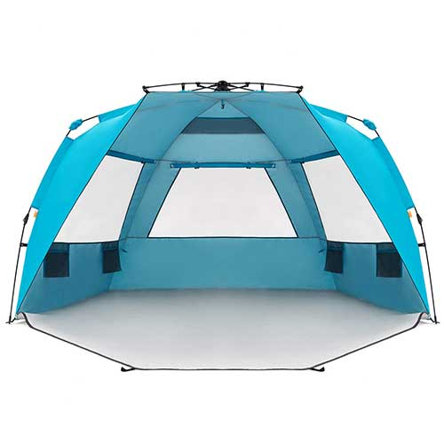 1. Easthills Outdoors Instant Shader Enhanced Deluxe XL Easy Up 4 Person Beach Tent Sun Shelter