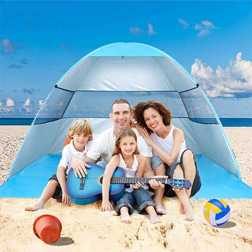 5. Wilwolfer Beach Tent Pop Up Sun Shelter Plus Cabana Automatic Canopy Shade Portable