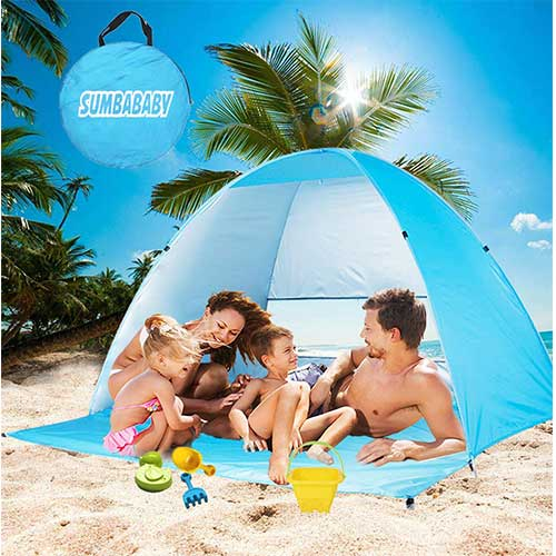 9. Large Beach Tent UV Pop up Sun Shelter Tents, Big Portable Automatic Sun Umbrella, Canopy by Sumbababy