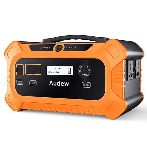 10. Audew Portable Power Station,500Wh Solar Generator with Car Jumper Port