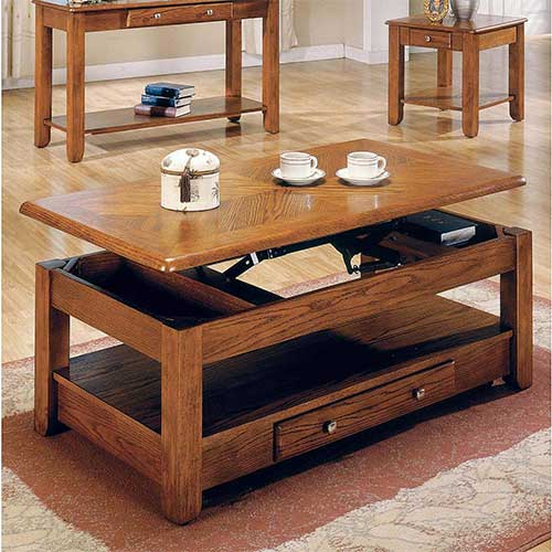 2. Logan Lift Top Coffee Table Oak with Storage Drawers and Bottom Shelf