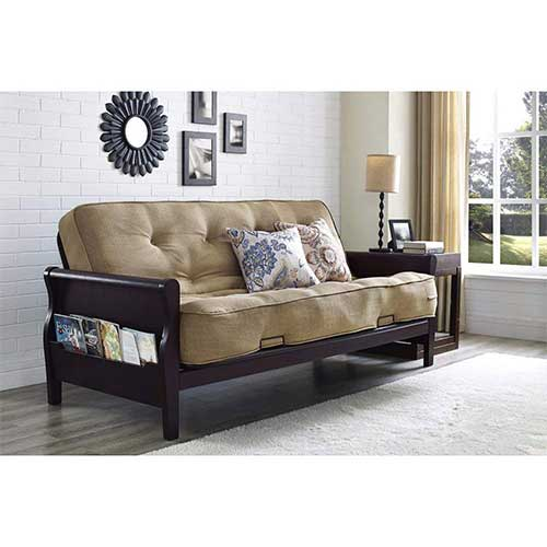 Best Futons for Everyday Sleeping 1. Better Homes and Gardens Wood Arm Futon with 8-Inch Coil Mattress, Oatmeal Linen