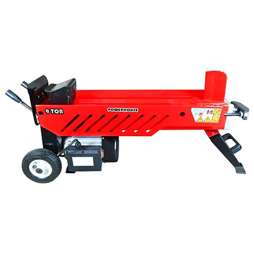 8. Powerhouse Log Splitters XM-580 9 Ton Electric Hydraulic Horizontal Log Splitter, Red/Black/Silver