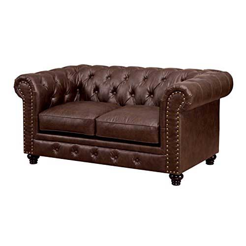 3. Furniture of America Villa Tufted Leather Loveseat in Brown