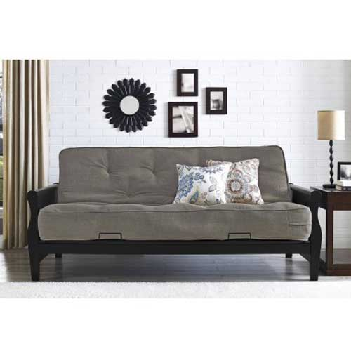 Best Futons for Everyday Sleeping 2. Better Homes and Gardens 3202098 Solid Wood Arm Futon with 8