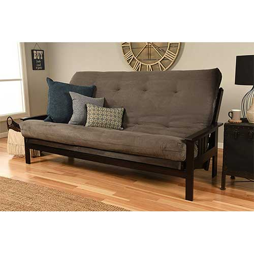 Best Futons for Everyday Sleeping 10. Jerry Sales Queen or Full Size Montreal Espresso Futon Frame w/ 8 Inch Innerspring Mattress Sofa Bed Wood Futons (Grey Mattress and Frame Only (Queen Size))