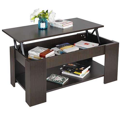 8. ZENY Coffee Table with Lift Top Hidden Compartment and Storage Shelves Modern Furniture for Home, Living Room, Décor