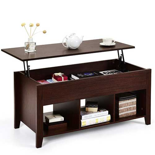 6. Tangkula Lift Top Coffee Table, Wood Home Living Room Modern Lift Top Storage Coffee Table w/Hidden Compartment Lift Tabletop Furniture (Brown)
