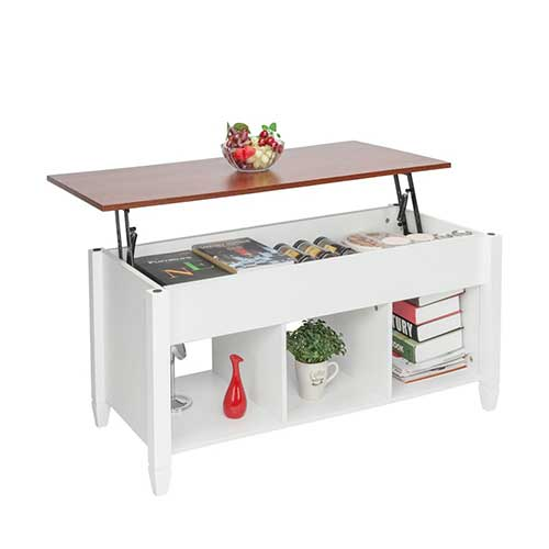 7. HomVent Lift-up Top Coffee Table, Wood & Metal End Table, Hidden Storage, and Lift Tabletop Dining Table, Computer Table, Side Table, Living Room Furniture Tea Table E1 Board & Iron Modern Furniture, White